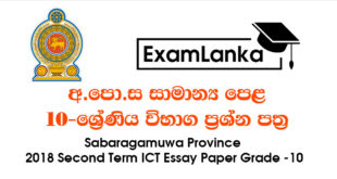 Sabaragamuwa Province Second Term Test ICT MCQ Paper Grade 10